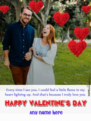 Happy Valentines Heart Balloons Photo Frame with Name Edit Online