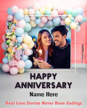 Marriage Anniversary Balloons BackDrop Wish With Name and Pic
