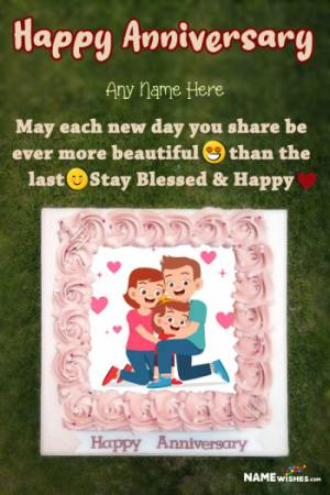 Happy Wedding Anniversary Cake With Name and Pic Edit Online Gift