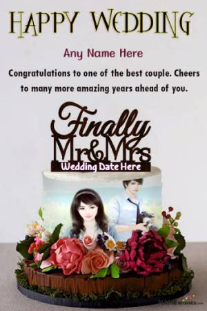 Wedding Wishes With Name and Photo Frame