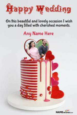Happy Wedding Red Heart Cake Wish With Name And Photo