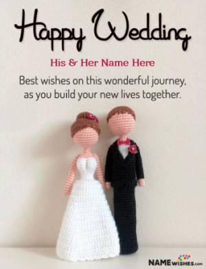 Happy Wedding Wish With Couple Name - DIY Dolls