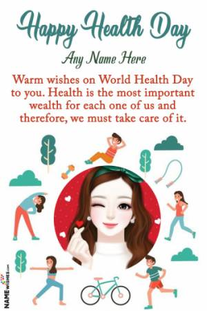 Happy World Healthy Day Wish With Name and Photo Edit