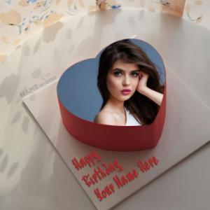 Heart Birthday Cake With Name Photo Frame