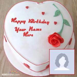 Heart Rose Bday Cake With Name