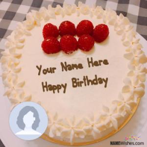 Ice Cream Strawberry Birthday Cake With Name