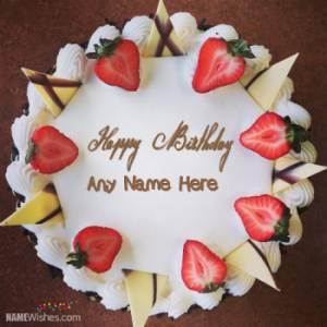 Icecream Fruity Birthday Cake With Name