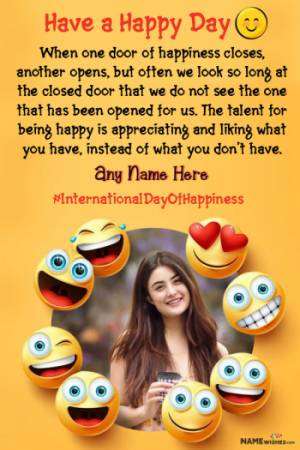 International Happy Day Photo Frame with Name Edit Online