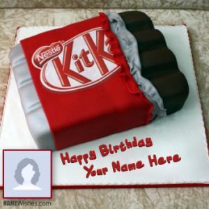 Yummy Kit Kat Shaped Birthday Cake With Name