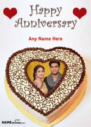 Love Anniversary Cake Golden Heart With Name And Photo