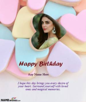 Love Heart Birthday Wish for Girlfriend with Name and Photo