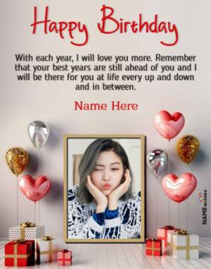 Lovely Birthday Wish With Name and Photo For GirlFriend