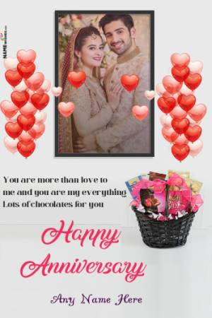 Lovely Chocolates Anniversary wish With Name and Pic