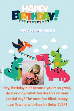 Dinosaur Themed Birthday Wish For Babies With Name