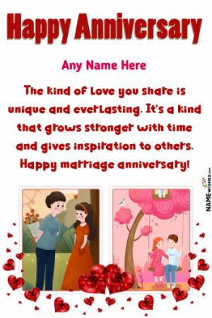 Lovely Double Frame Anniversary Wishes With Name Edit Online
