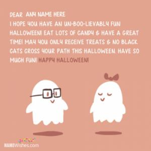 Lovely Halloween Wishes With Name Editing Option