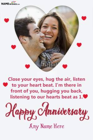Lovely Heart Anniversary Wish With Name and Photo Frame
