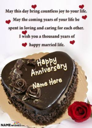 Lovely Heart Shaped Chocolate Wedding Anniversary Cake With Name
