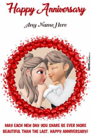 Lovely Hearts Photo Frame Anniversary Wish With Name