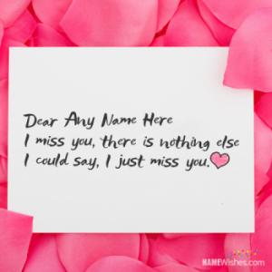 Lovely Miss You Card With Name Editing Option