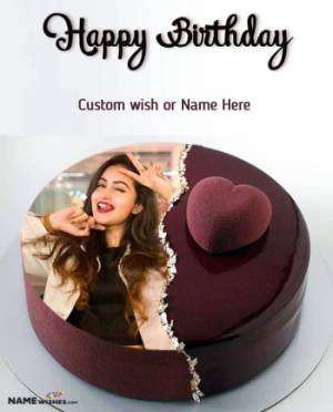 Milky Chocolate Happy Birthday Heart Cake With Name and Photo