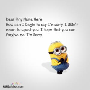 Minion Sorry Images With Name Editing Option