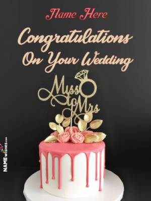 Miss To Mrs Happy Wedding Ring Cake With Name For Couples