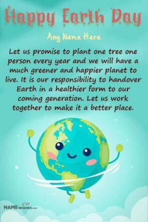Mother Earth Day Illustration Wishes With Name Edit Online