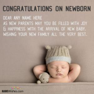 New Born Baby Greetings With Name