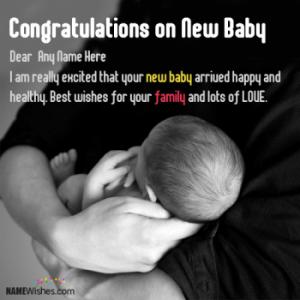 New Born Baby Wishes With Name For Parents