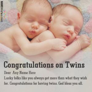 New Born Twins Congratulations Wishes With Name