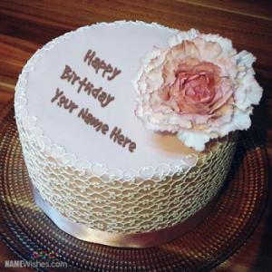 New Flower Birthday Cake With Name