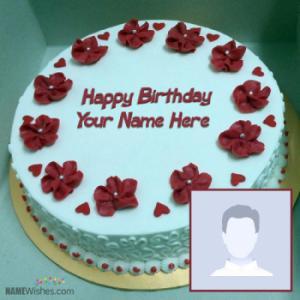 New Red Velvet Birthday Cake With Name