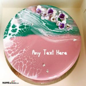 Ocean Themed Birthday Cake With Name Edit