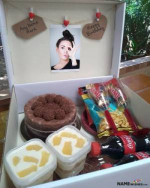 Personalized Birthday Gift - Snacks Box With Name Photo