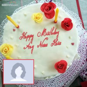 Red Rose White ButterCream Birthday Cake With Name