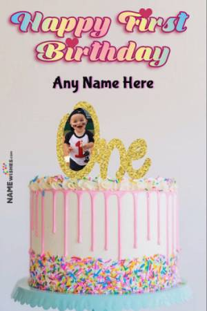 Pink Colorful Sprinkles Happy First Birthday Cake With Name