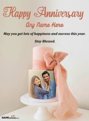 Pink Ribbon Elegant Happy Anniversary Cake With Name and Photo