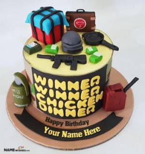 PUBG Birthday Cake With Name For Game Lovers