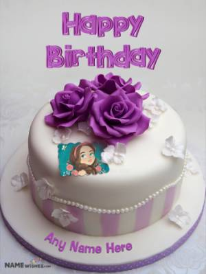 Purple Roses Birthday Cake For Sister With Photo Name
