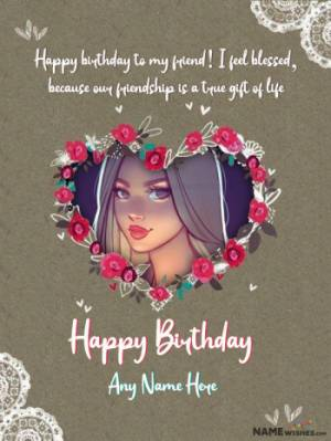 Retro Heart Birthday Wish With Name and Pic