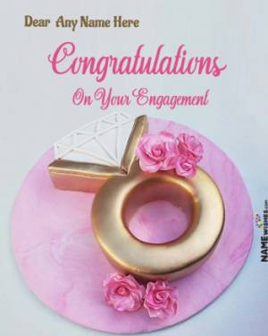 Engagement Wishes With Name and Photo Frame