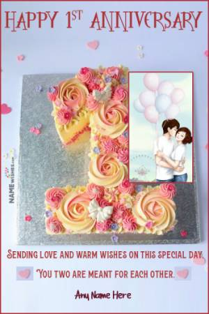 Romantic 1st Anniversary Cake With Name and Photo For Friend