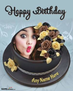 Rose Dark Chocolate Birthday Cake With Name and Photo For Friends