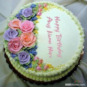 Beautiful Roses Birthday Cake With Name Editing Online