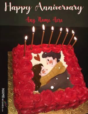 Roses Square Anniversary Cake With Name and Photo Edit
