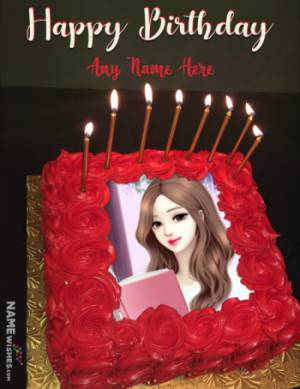 Roses Square Birthday Cake With Name and Photo Edit