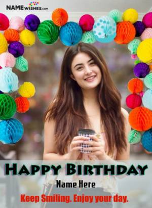 Round Lights Balloons Happy Birthday Full BackDrop Photo Frame With Name