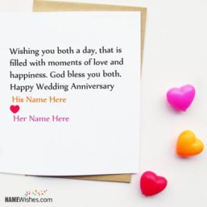 Simple Wedding Anniversary Card With Couple Names