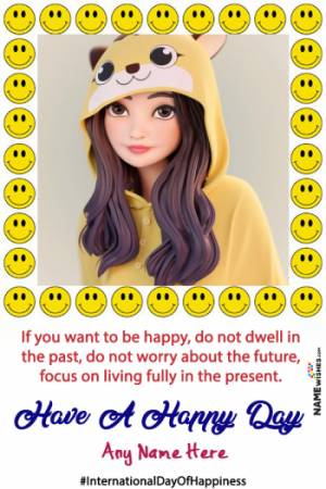 Smiley Emoji day Of Happiness Photo Frame With name